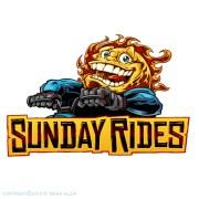 Sun riding a dirtbike mascot logo.