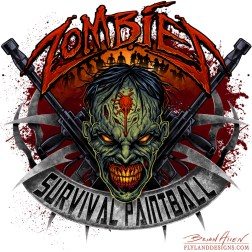 Logo design with a zombie head and paintball guns
