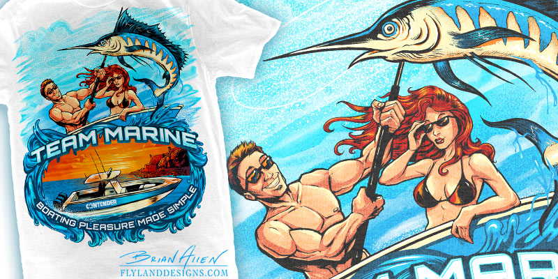 custom T-Shirt illustration of a young couple deep-sea fishing for Marlin in Peurto Rico.