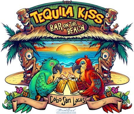 Custom Bar T-Shirt illustration of two parrots drinking beer on paradise island