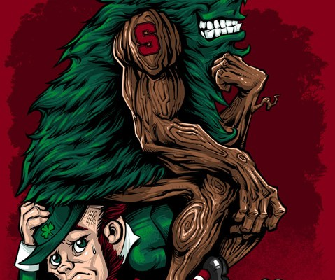 Stanford Tree Mascot illustrated in Heisman pose for t-shirt.