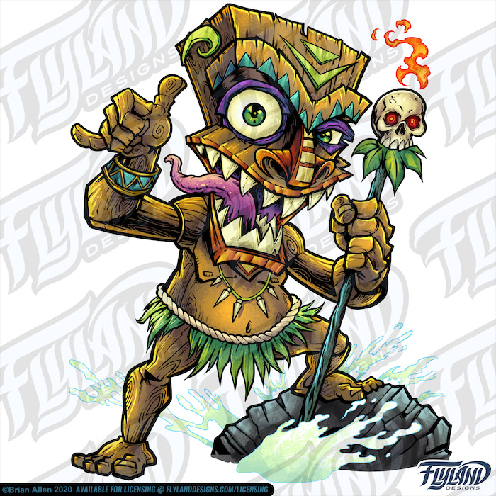 Wooden Tiki witch Doctor with fl