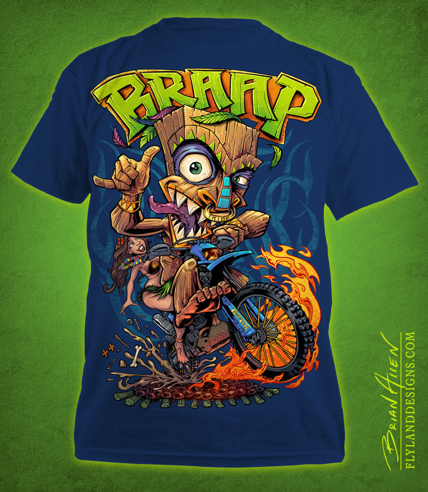 Tiki Man Motocross Rider T-Shirt Illustration