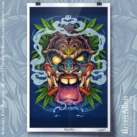Art Print of a cool Tiki Guy