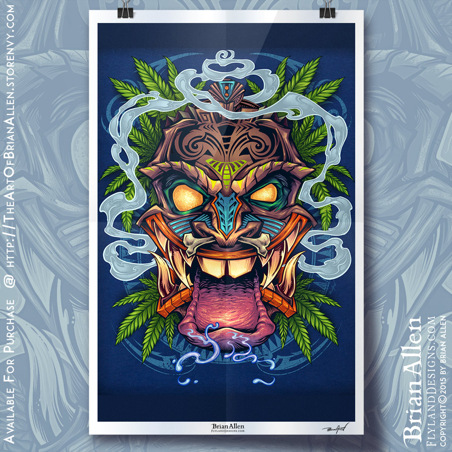 Art Print of a cool Tiki Guy