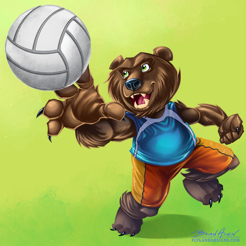 Bear Volleyball Player Mascot