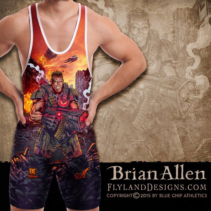Futuristic soldier illustration for dye-sublimated wrestling singlets.