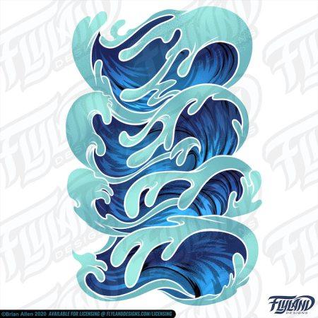 Stack of ocean light and dark blue ocean waves