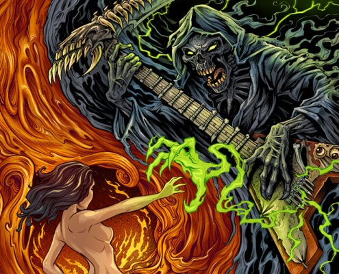 Album cover design I created of the Grim Reaper emerging from smoke to connect with a woman emerging from a portal to hell.