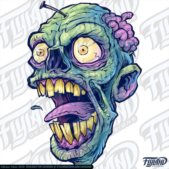 Three rotting green Zombie heads