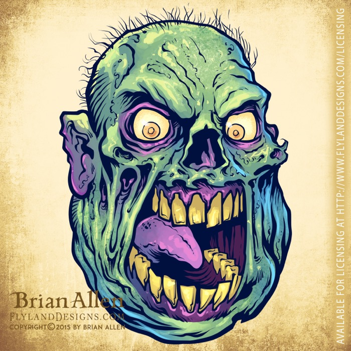 Green evil cartoon zombies for r