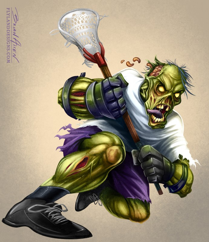 Mascot character design of a zombie lacrosse player