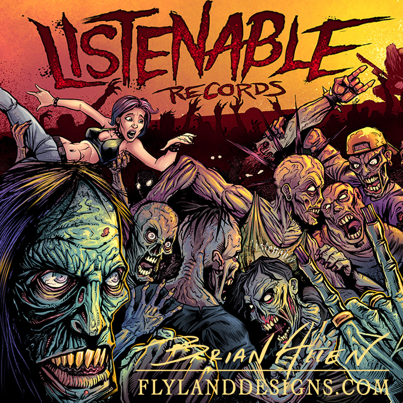 Illustration of a moshpit full of zombies created for a record company