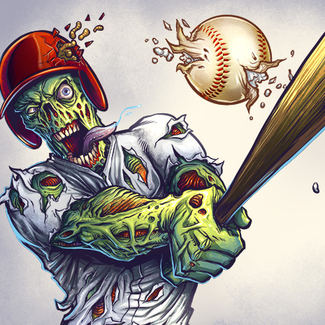 Illustration of a zombie baseball player swinging a bat