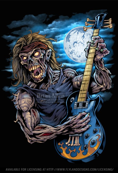 Illustration of a zombie rocker