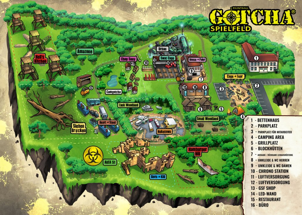 Illustrated Paintball Course Map