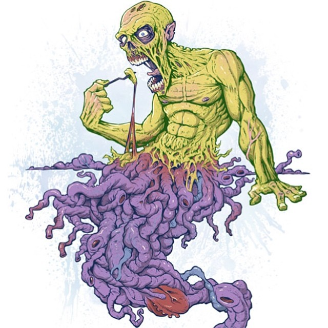 Illustration of a zombie eating itself. I am selling this design on Design By Humans it is now 20% off for the rest of the month using the code : freerides. If you are interested go to http://bit.ly/1mpjZEV