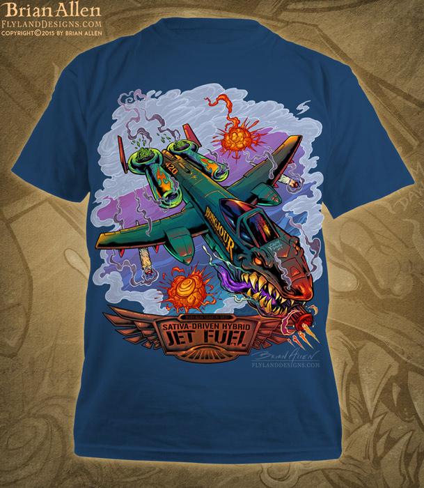 T-Shirt of a A-10 Thunderbolt warplane in a dogfight for Jet Fuel marijuana strain