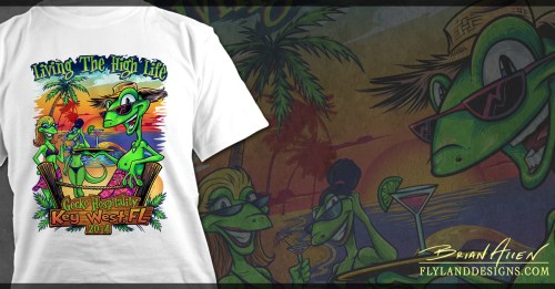 T-Shirt illustration of gecko cartoon characters on the beach