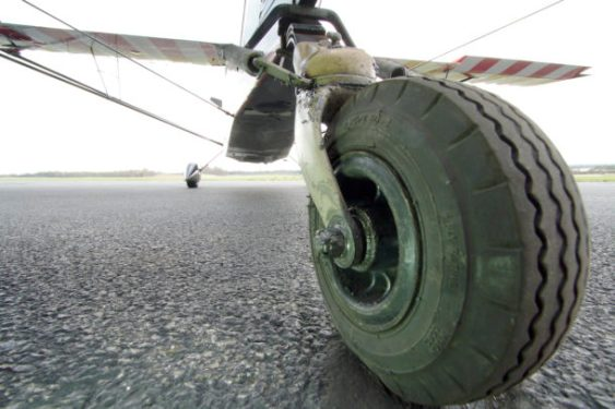 "Tail wheel of Decathlon ""taildragger"" acrobatic airplane"