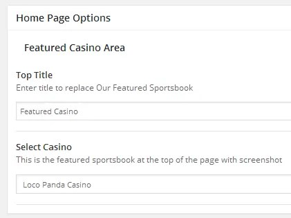 featured page options