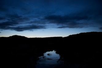 Abendhimmelspiegelung in der Nähe des Delicate-Arch-Parkplatzes    Foto: Ulf Cronenberg, Würzburg