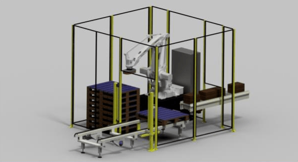 Low cost robot palletising cell