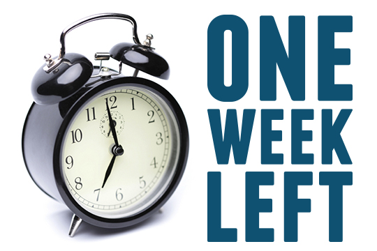 Only 1 week left!