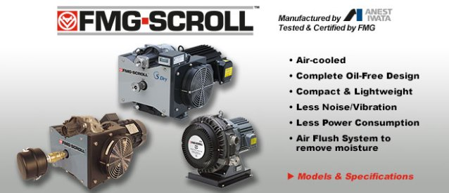 FMG-SCROLL vacuum pumps. Scroll Vacuum Pumps manufactured by Anest Iwata, tested and certified by FMG.
