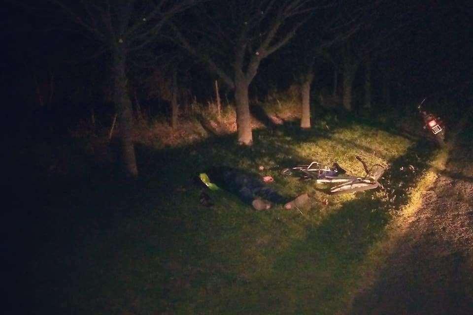 Siniestro vial con ciclista lesionado en Ruta 158