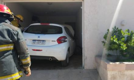 Intento estacionar y  chocó  la puerta de un garage