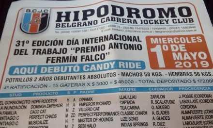 GRAN ENCUENTRO HÍPICO EL 1° DE MAYO EN EL HIPÓDRMO BELGRANO CABRERA JOCKEY CLUB