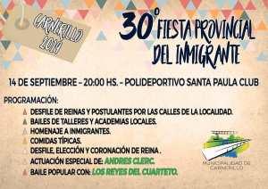 Se viene la Fiesta Provincial del Inmigrante en Carnerillo