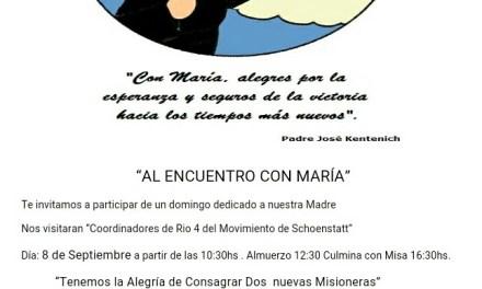 «Al encuentro con María» – Jornada que se realiza el próximo Domingo