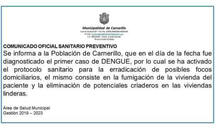 Primer caso de dengue en Carnerillo