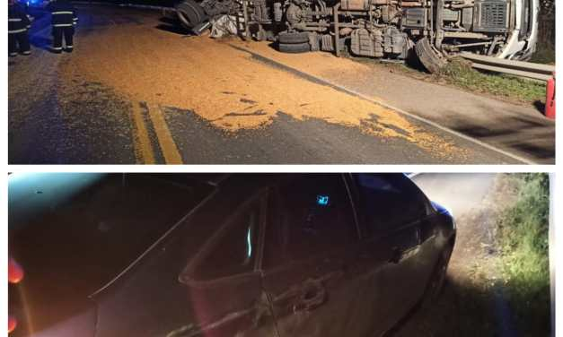 Las Perdices: Un desperfecto técnico produjo el vuelco de  un camión