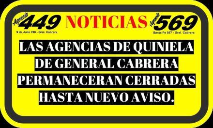 Las agencias de quiniela de Cabrera cerradas hasta nuevo aviso
