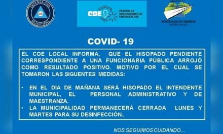 Carnerillo: Una funcionaria pública dio positivo, será hisopado el Intendente