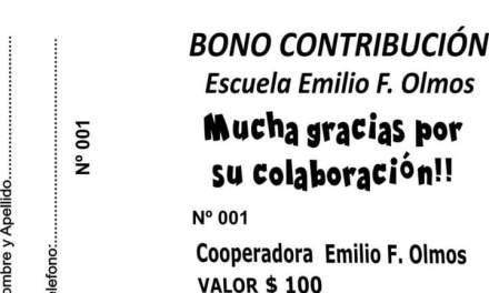 Bono contribución a beneficio de la escuela Emilio F. Olmos