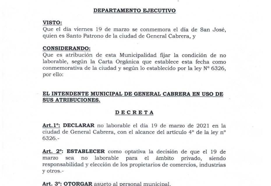 Por Decreto el 19 de Marzo será día no laborable