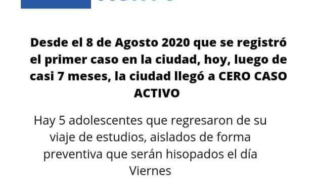 Exelentes noticias!! – Hoy Cabrera tiene CERO CASO ACTIVO DE COVID