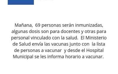 Llegan 69 vacunas para docentes y personal de salud