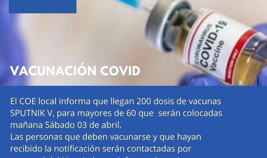 Llegan 200 dosis de vacuna SPUTNIK V