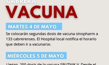 Vacunas Covid – Llegaron 2° dosis para 133 personas