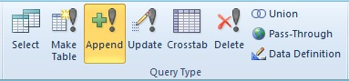 Microsoft Access Query Ribbon to Specify Append Query to Insert Records into a Table