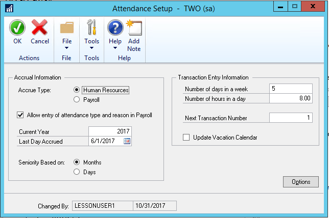Dynamics GP Attendance Screen Set Up