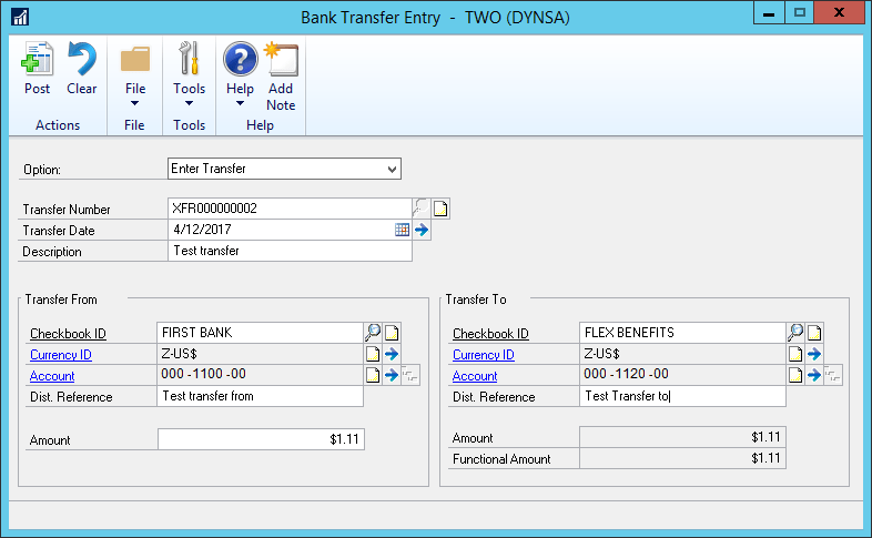 Dynamics_GP_Bank_Transfer_Entry_TWO_DYNSA