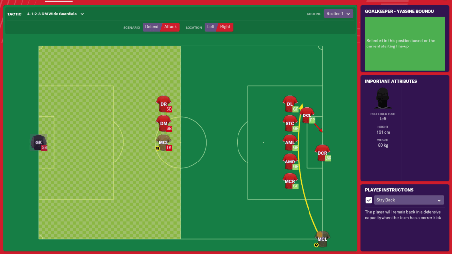 Attack Corner Routine arrangement in FM19