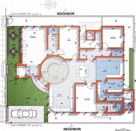 تصميم بيت دور واحد واسع من الداخل والخارج بالصور
