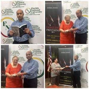 Collage of Anibal and Dr. Regueiro holding his new book